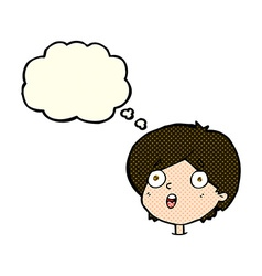 Cartoon amazed expression with thought bubble vector