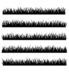 Silhouette of grass set isolated on white vector