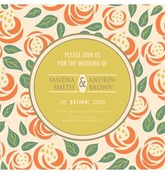 Wedding vintage invitation with flowers vector image