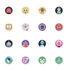 A pack of artificial intelligence flat icon vector