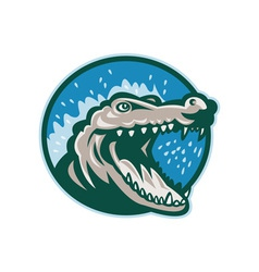 Angry crocodile or gator head snapping vector image