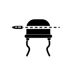 Black icon on white background bullet pierced the vector