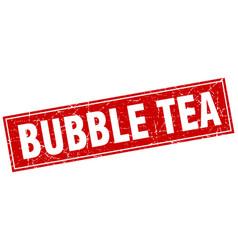 Bubble tea square stamp vector