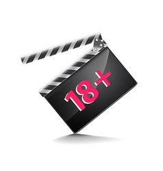 Clapper board adults only isolated on white vector image vector image