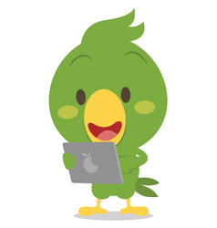 collection of parrot character with phone vector image