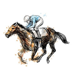 Colored hand drawing a rider with a horse vector image