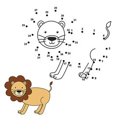 Connect the dots to draw the cute lion and color i vector