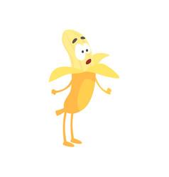 Cute surprised banana cartoon funny fruit vector