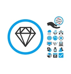 Diamond Flat Icon With Bonus vector image vector image