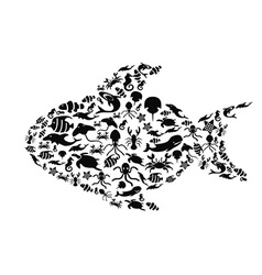 fish filled with small sea life vector image vector image