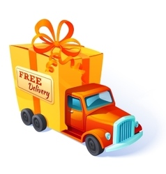 Gift car box composition vector