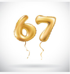 Golden number 67 sixty seven metallic balloon vector