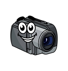 Happy gray cartoon video camera vector image