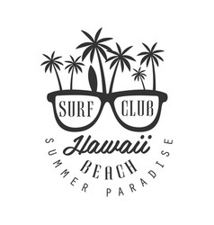hawaii beach summer paradise logo template black vector image vector image