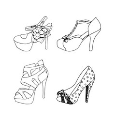 high-heeled shoes for woman fashion footwear set vector image vector image