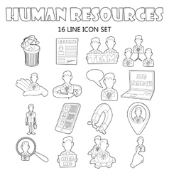 Human resources icons set outline style vector image