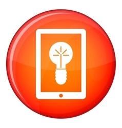 Idea lamp on gadget screen icon flat style vector
