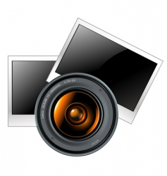 lens with photo frames vector image vector image