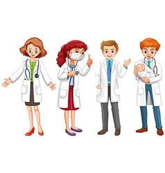 Male and female doctors in uniform vector image
