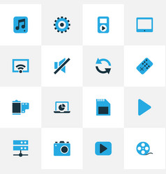 Music colorful icons set collection of photo vector