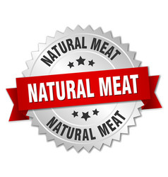 Natural meat round isolated silver badge vector