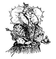 Queen of hearts vintage vector