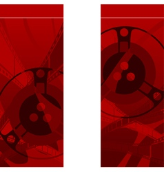 Red background with filmstrip and coils vector