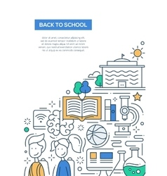 Scool education line design composition vector image