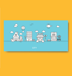 set of buildings in flat linear style in black and vector image