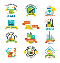 set of cleaning service emblems labels design home vector image