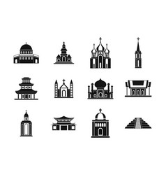 Temple icon set simple style vector