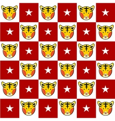 Tiger Star Red White Chess Board Background vector image