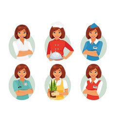 women profession set vector image vector image