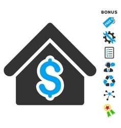 House rent flat icon with bonus vector