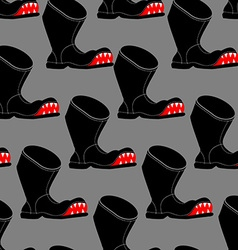 Broken boot seamless pattern toothy old shoes with vector
