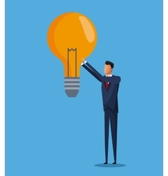 business man bulb idea solution design vector image