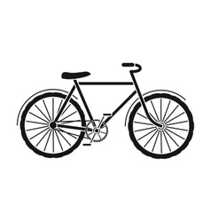 Green bicycle icon in black style isolated on vector image