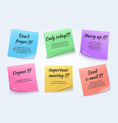 sticky notes urgent paper memo set vector image