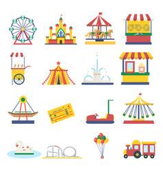 Amusement park flat elements isolated background vector