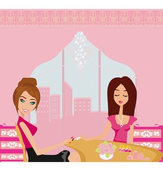 Girl doing manicure in beauty salon vector