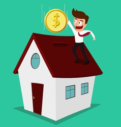 Businessman putting coin inside the house vector