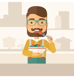 Hungry man eating vector image