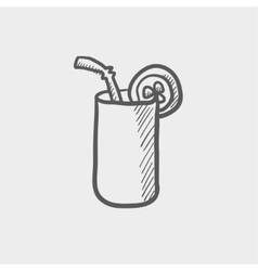 Orange jiuce glass with drinking straw sketch icon vector