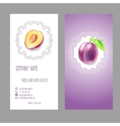 Business card with plum vector