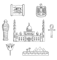 Egypt sketched travel landmarks and symbols vector