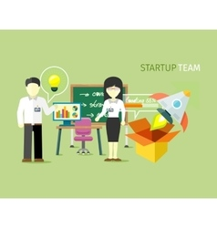 Startup team people group flat style vector