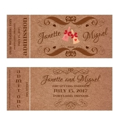 Ticket for wedding invitation with elegant wedding vector