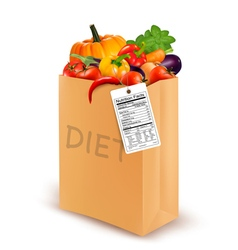 Diet paper bag with vegetables and a nutritional vector