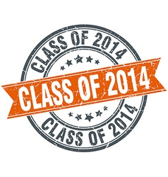 Class of 2014 round orange grungy vintage isolated vector