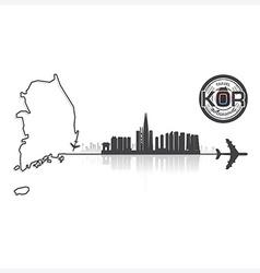Republic of korea skyline buildings silhouette vector